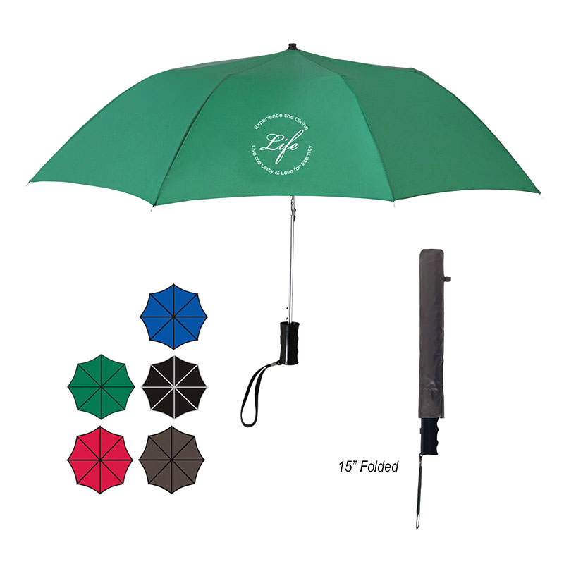 "Custom Umbrellas by TJM Promos - 36"" ARC Telescopic Folding Automatic Umbrella"