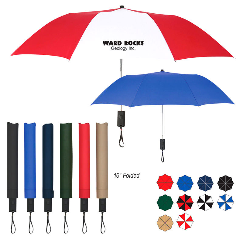"Custom Umbrellas By TJM Promos - 44"" ARC Auto-Open Telescopic Folding Umbrella"