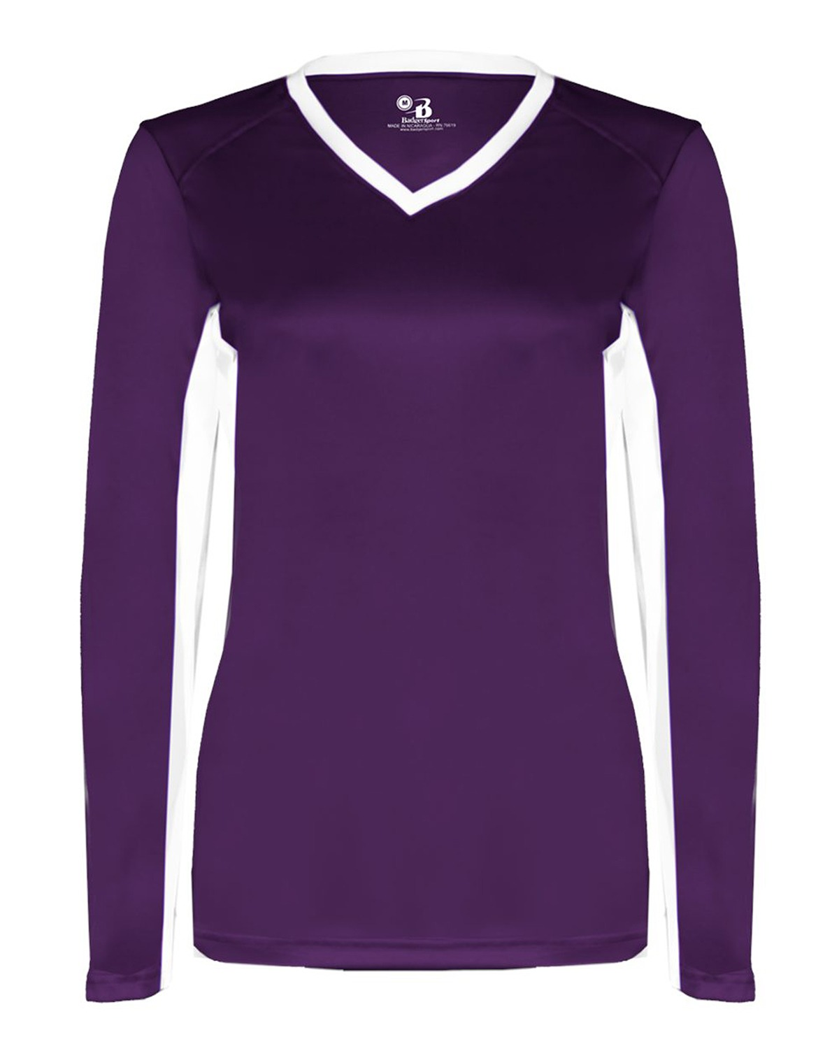 Badger 6164 – Ladies' Core Performance Dig Long-Sleeve Tee with Contrast Sleeve Panels 1