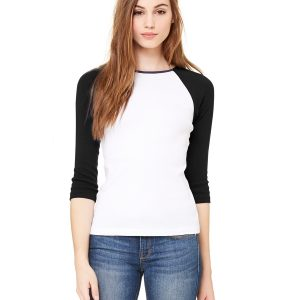 Bella + Canvas B2000 - Ladies' Baby Rib 3/4-Sleeve Contrast Raglan T-Shirt